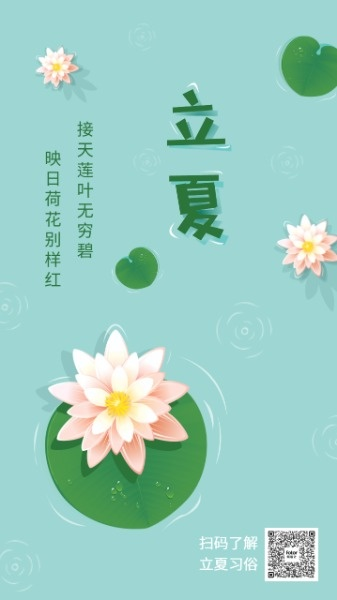传统文化24节气立夏莲花