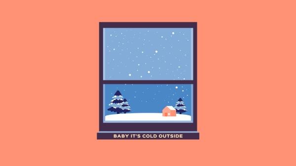 寒冷冬季下雪