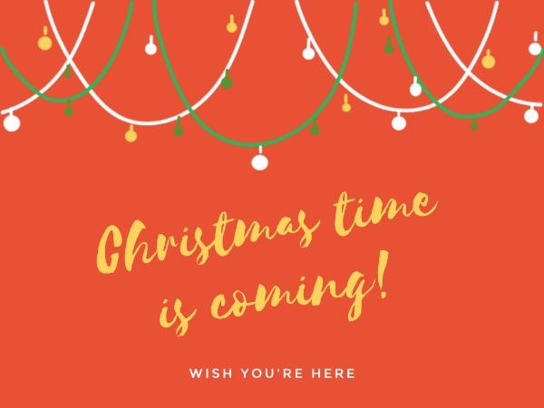 圣诞节快乐祝福彩灯简约