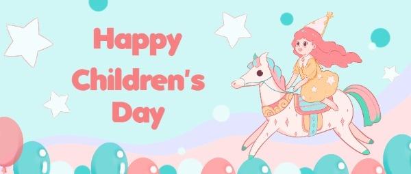 六一儿童节快乐可爱女孩手绘童话