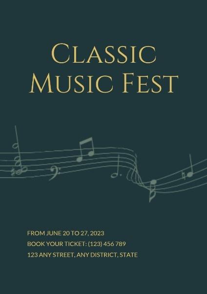 Dark Green Classic Music Fest Poster