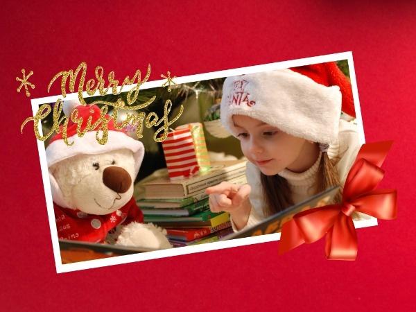 圣誕節平安夜祝福小孩紅色圖文喜慶