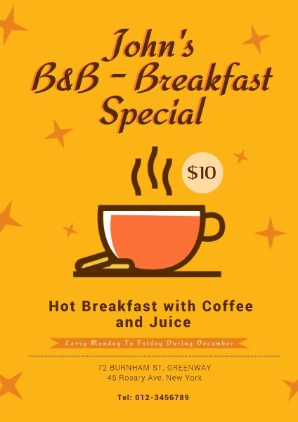 咖啡馆早餐促销宣传黄色手绘