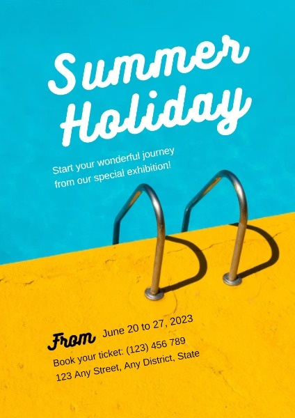 Blue And Yellow Swimming Pool Summer Holiday Poster