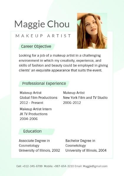 化妆师简历