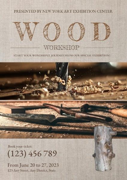 Brown Workshop Vintage Wood Craft Exhibition Poster