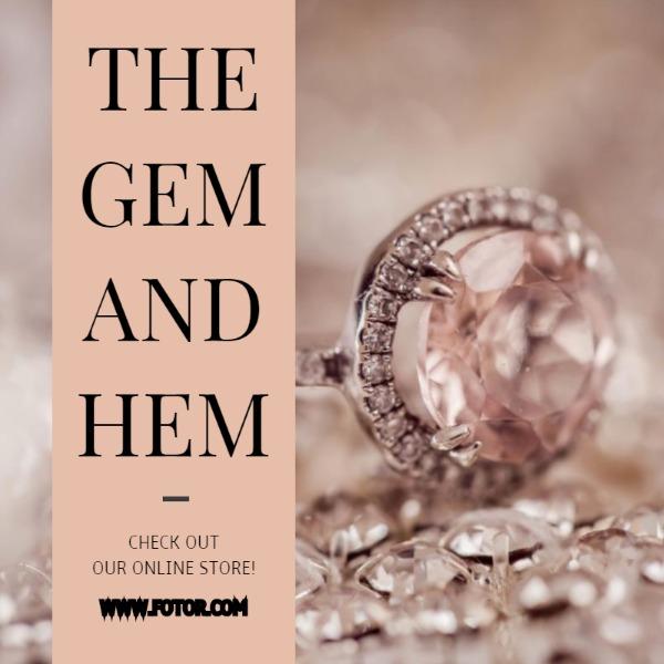 粉色珠宝钻石主题海报