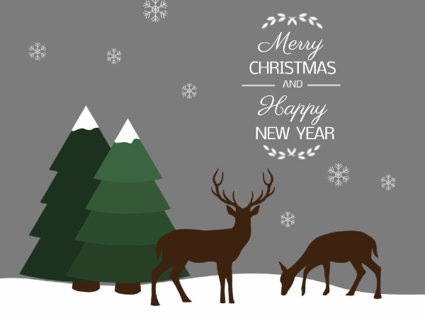 圣诞节快乐祝福雪花麋鹿白色卡通