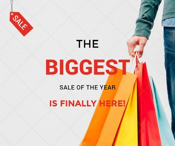 白色年度购物活动海报