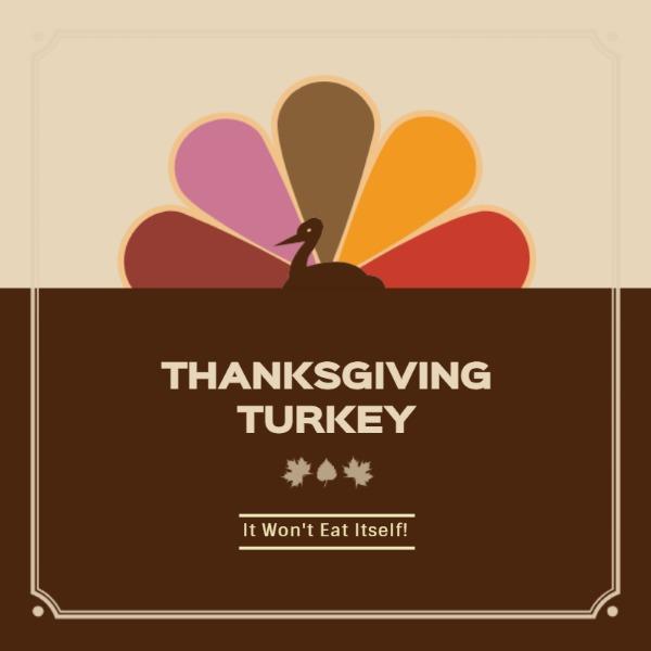 创意褐色感恩节主题海报
