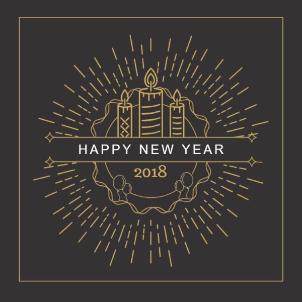 褐色印花花纹新年主题海报