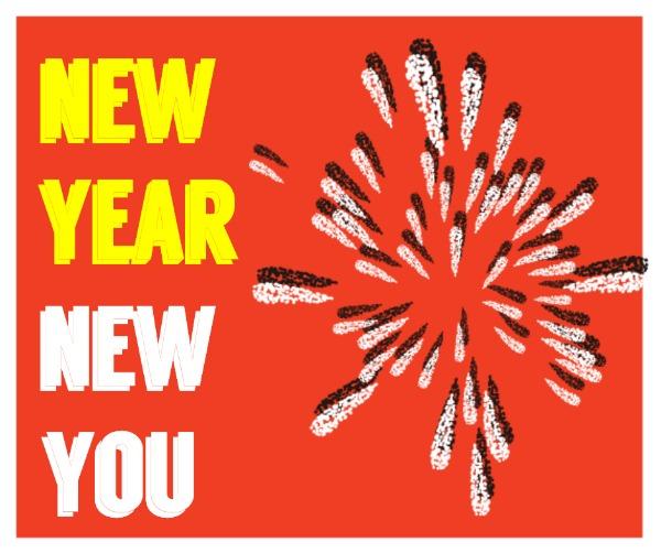 红色卡通新年贺卡