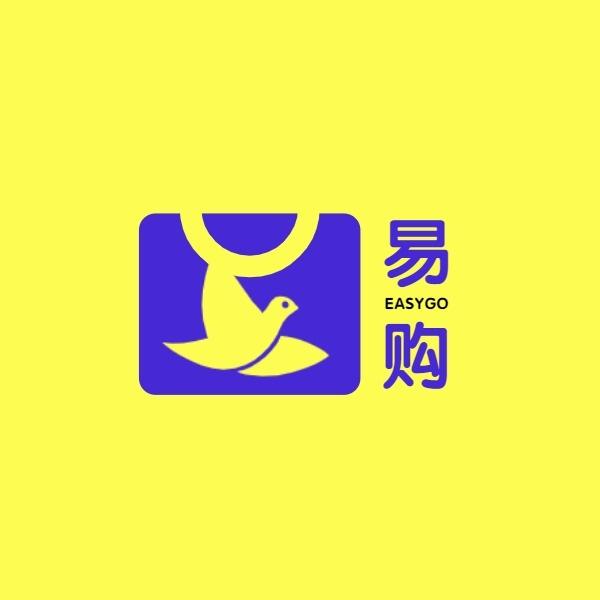 线上电商超市购物平台购物袋黄色蓝色