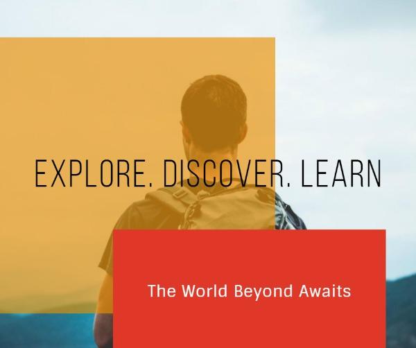 黄色旅行探索主题海报