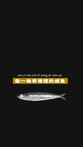 黑色简约励志激励咸鱼简约