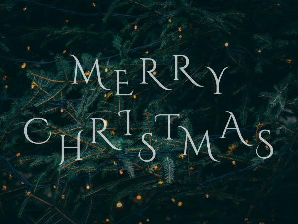 圣诞节平安夜圣诞树祝福简约图文绿色
