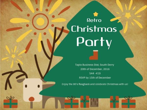 圣诞节快乐祝福聚会邀请烟花奶咖色手绘