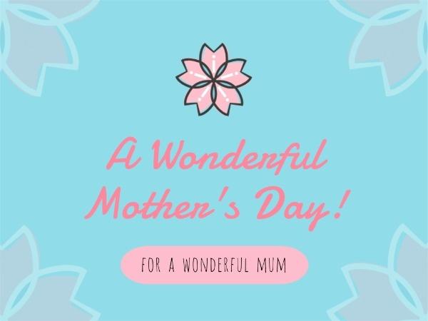 母亲节快乐感恩祝福温情花朵蓝色文艺