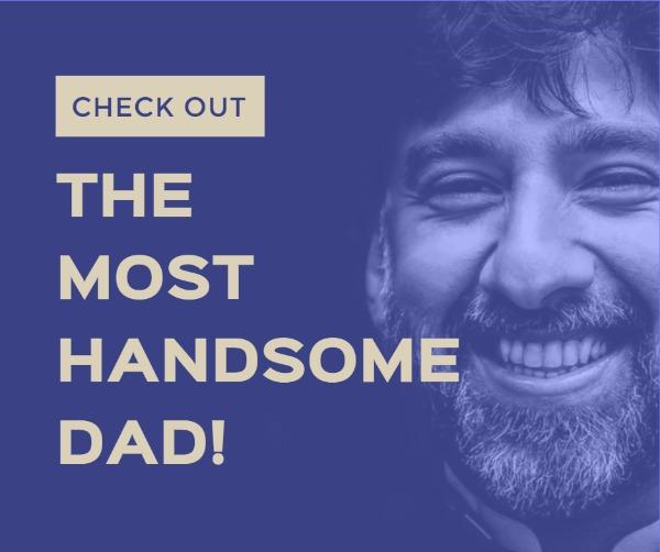紫色父亲节人像主题海报