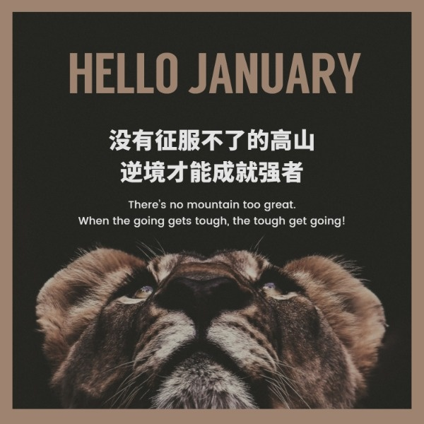 褐色复古1月份月签