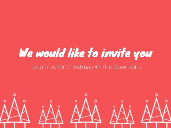 圣诞节快乐祝福聚会邀请松树红色简约
