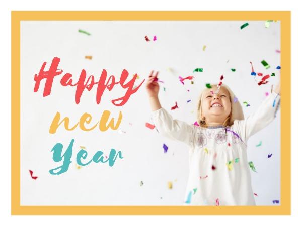 新年快乐祝福开心孩子白色简约