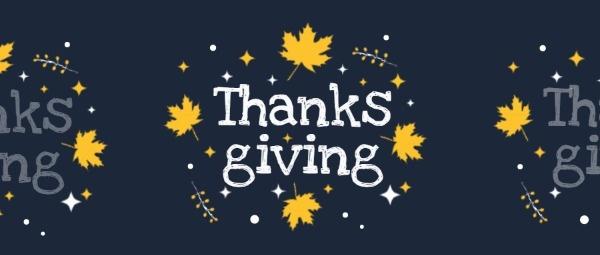 藍色簡約感恩節快樂