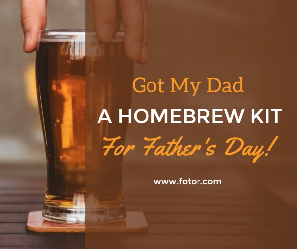 褐色父亲节啤酒主题海报