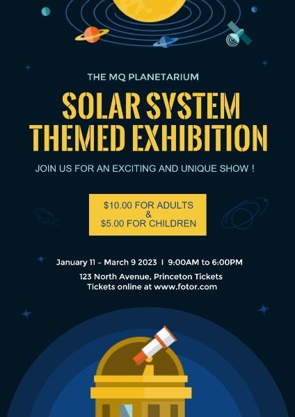卡通矢量宇宙太阳系主题天文馆展览