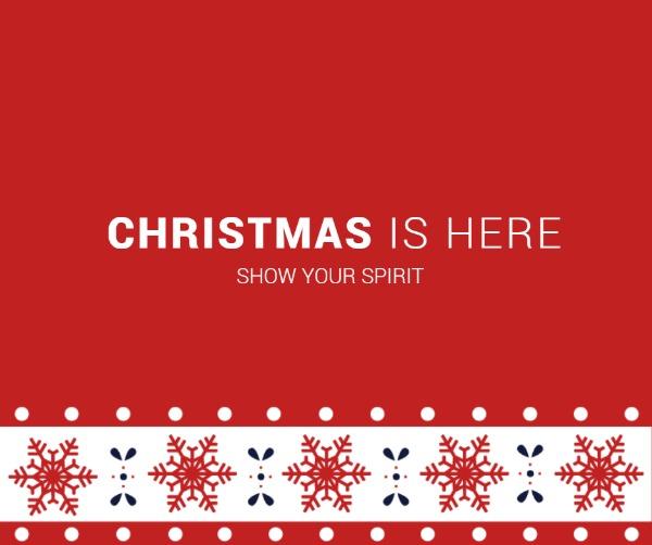红色圣诞节雪花花边海报
