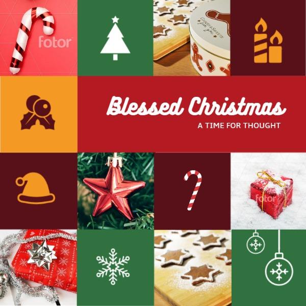 圣诞节方格拼接主题海报