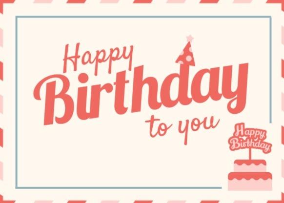 粉色卡通生日祝福卡明信片
