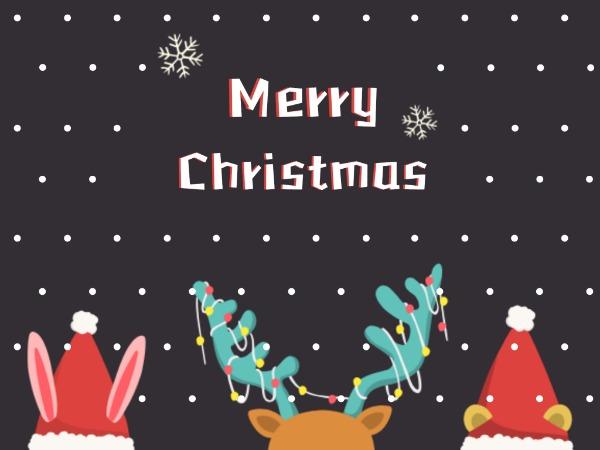 圣诞节快乐祝福麋鹿彩灯白色简约