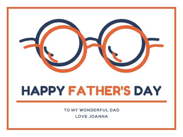 父亲节快乐感恩祝福眼镜白色简约