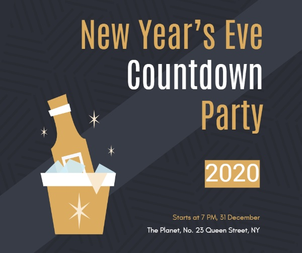 黑酷新年倒计时派对主题海报