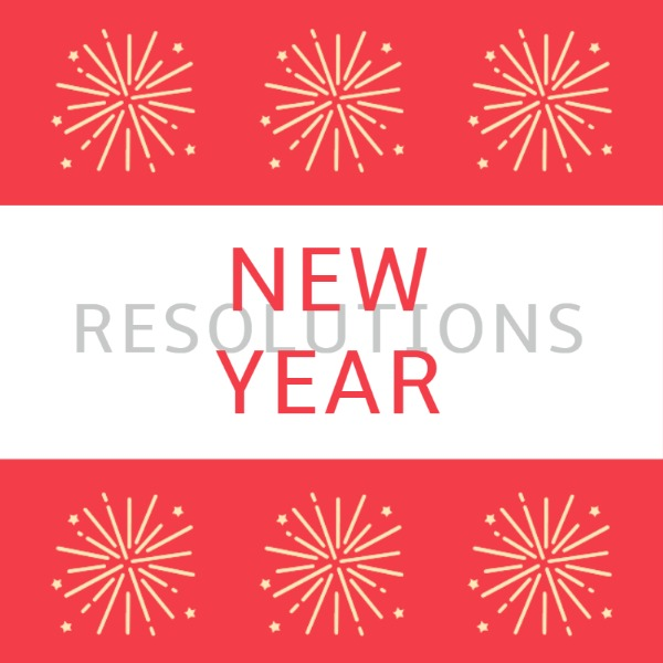 红白拼接新年烟花主题海报