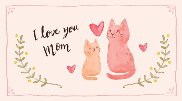 512母亲节快乐爱心猫