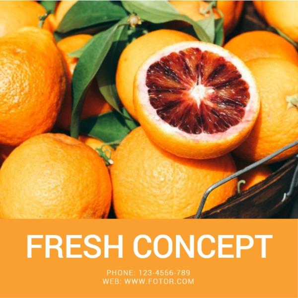 橙色水果照片主题海报