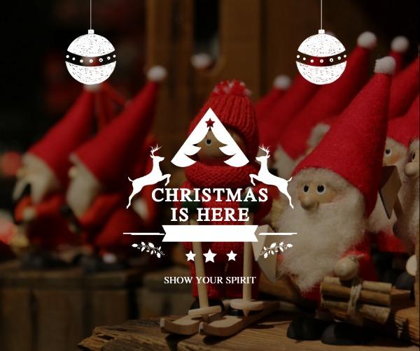 红色圣诞老人布偶主题海报