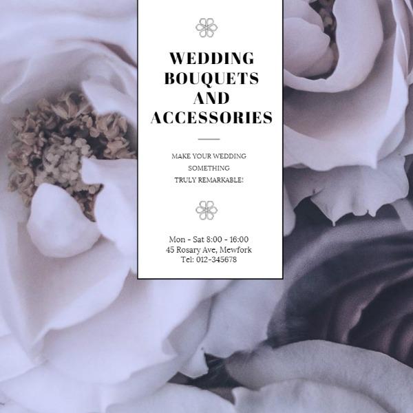 白色婚礼花朵摄影主题海报