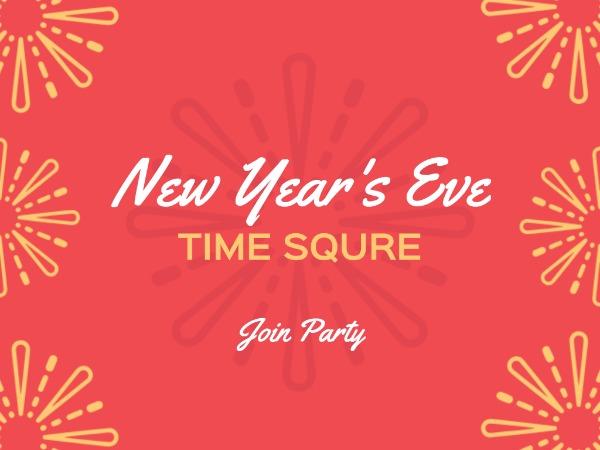 新年快乐祝福聚会邀请烟花红色简约