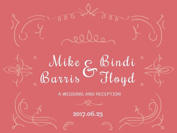 婚礼新婚邀请甜蜜花纹粉红色卡通