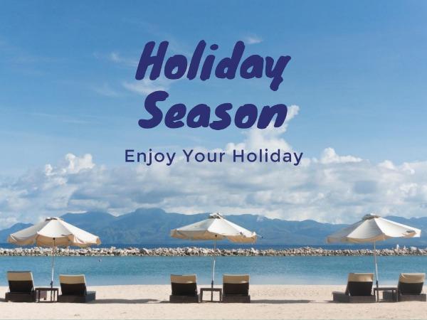 假期快乐沙滩蓝色简约