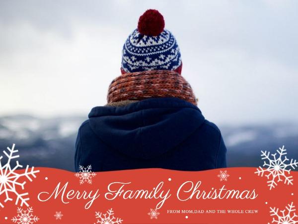 圣诞节快乐祝福背影白色简约