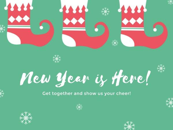 新年快乐祝福雪花绿色卡通