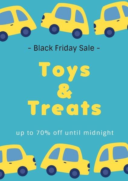 黑色星期五玩具零食促销折扣蓝色手绘