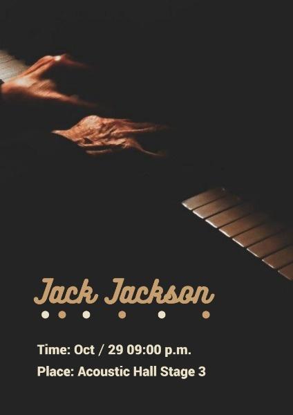 钢琴音乐会演奏宣传黑色简约