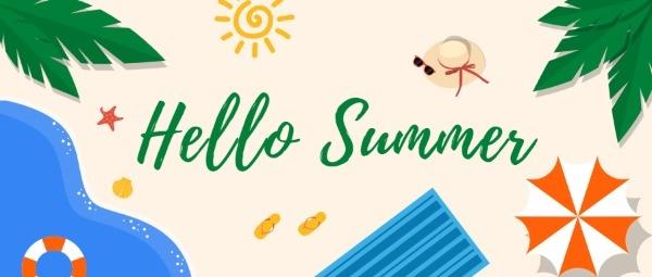你好夏日夏天海滩