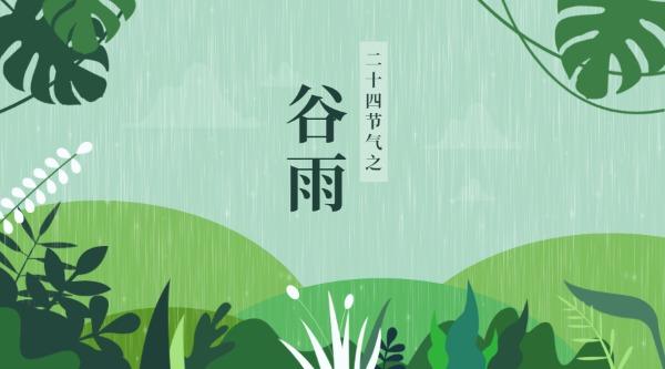 24节气谷雨绿色清新