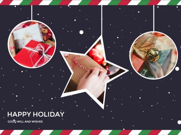 圣诞节快乐祝福家庭星空深蓝色简约